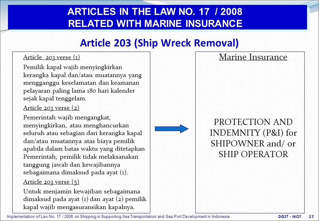 Article 203 (Ship Wreck Removal) Article 203 verse (1) Pemilik kapal wajib menyingkirkan kerangka kapal dan/atau muatannya yang mengganggu keselamatan dan keamanan pelayaran paling lama 180 hari kalender sejak kapal tenggelam.