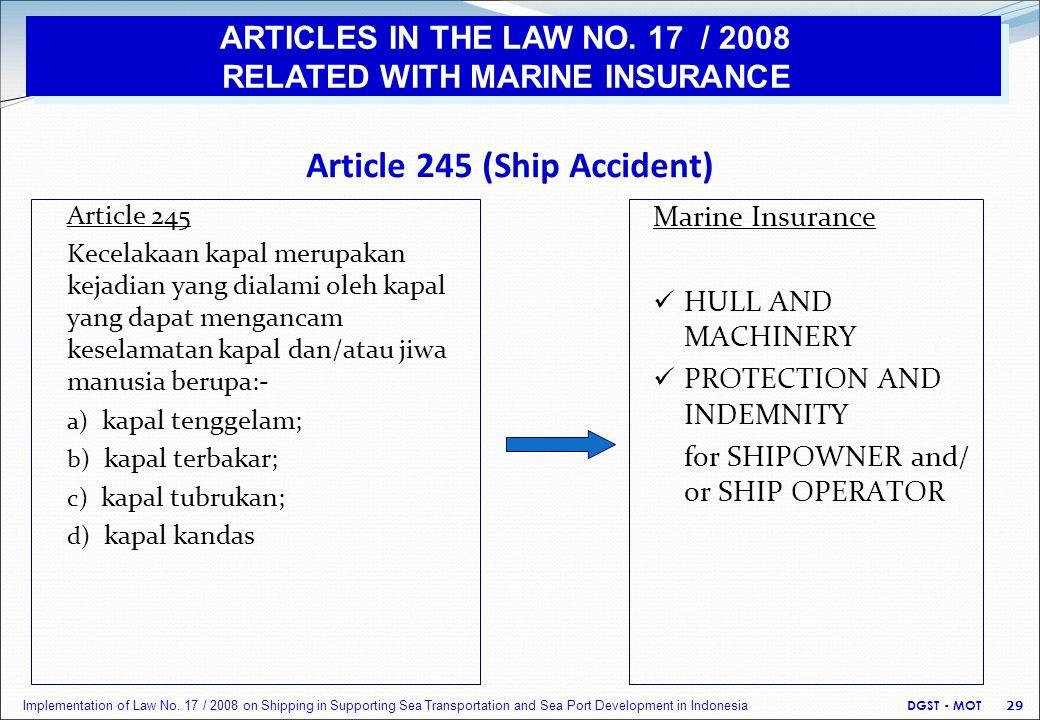 Article 245 (Ship Accident) Article 245 Kecelakaan kapal merupakan kejadian yang dialami oleh kapal yang dapat mengancam keselamatan kapal dan/atau jiwa manusia berupa:- a) kapal tenggelam; b) kapal terbakar; c) kapal tubrukan; d) kapal kandas Marine Insurance HULL AND MACHINERY PROTECTION AND INDEMNITY for SHIPOWNER and/ or SHIP OPERATOR DGST - MOT 29 Implementation of Law No.