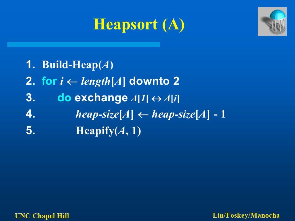 UNC Chapel Hill Lin/Foskey/Manocha Heapsort (A) 1. Build-Heap(A) 2. for i  length[A] downto 2 3. do exchange A[1]  A[i] 4. heap-size[A]  heap-size[