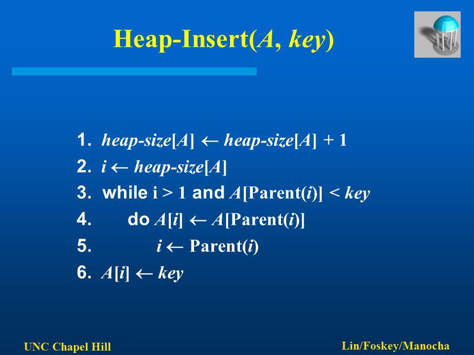 UNC Chapel Hill Lin/Foskey/Manocha Heap-Insert(A, key) 1. heap-size[A]  heap-size[A] + 1 2. i  heap-size[A] 3. while i > 1 and A[Parent(i)] < key 4.