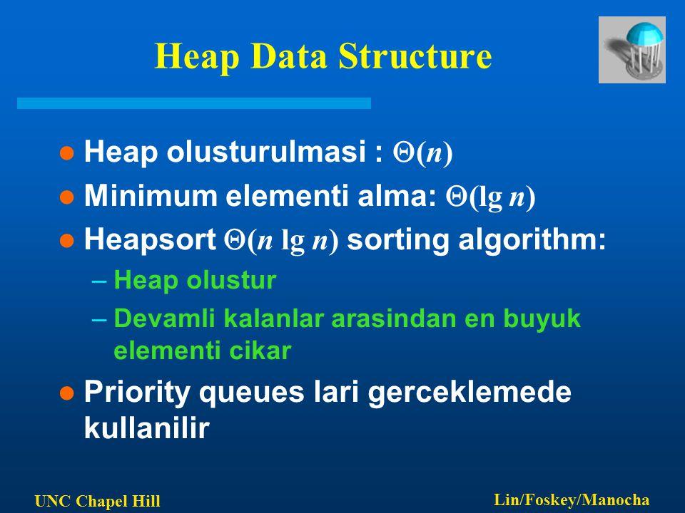 UNC Chapel Hill Lin/Foskey/Manocha Heap Data Structure Heap olusturulmasi :  (n) Minimum elementi alma:  (lg n) Heapsort  (n lg n) sorting algorith