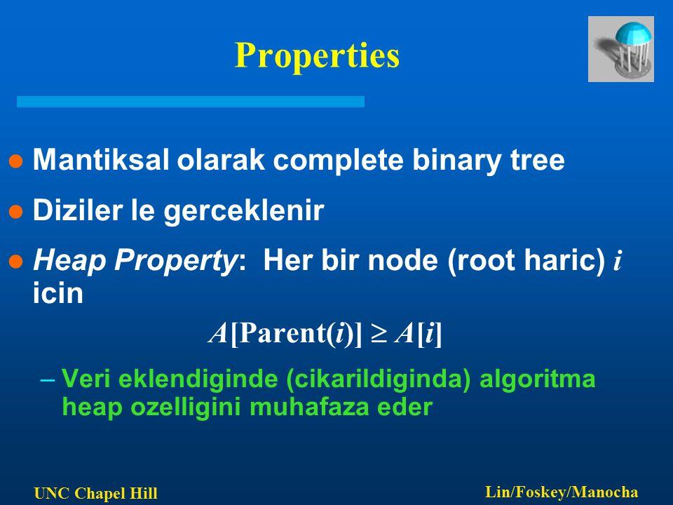 UNC Chapel Hill Lin/Foskey/Manocha Properties Mantiksal olarak complete binary tree Diziler le gerceklenir Heap Property: Her bir node (root haric) i