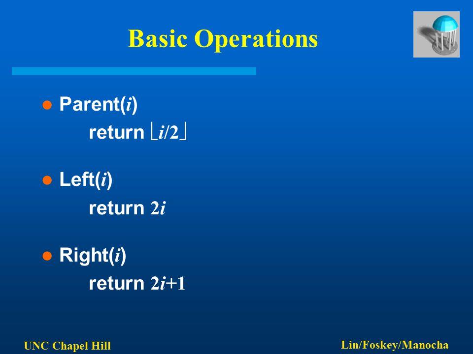 UNC Chapel Hill Lin/Foskey/Manocha Basic Operations Parent( i ) return  i/2  Left( i ) return 2i Right( i ) return 2i+1