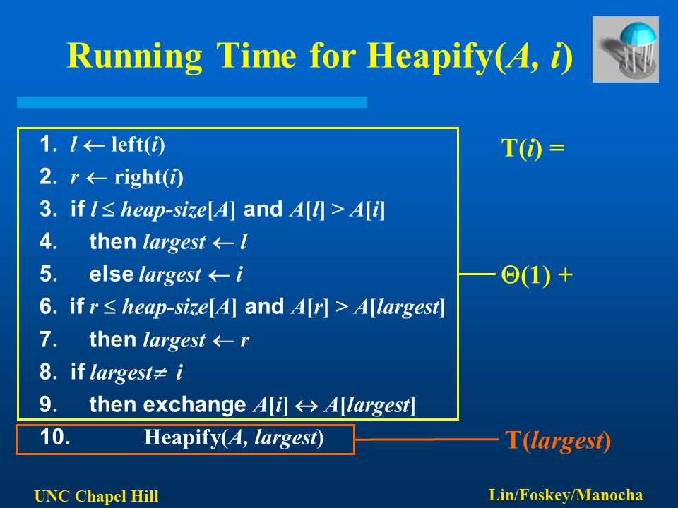 UNC Chapel Hill Lin/Foskey/Manocha Running Time for Heapify(A, i) 1.