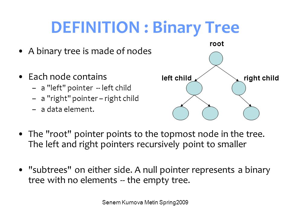 Senem Kumova Metin Spring2009 DEFINITION : Binary Tree A binary tree is made of nodes Each node contains –a