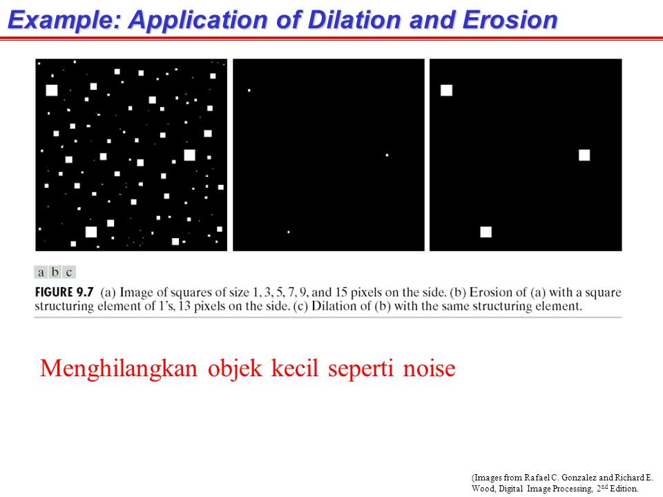 (Images from Rafael C. Gonzalez and Richard E. Wood, Digital Image Processing, 2 nd Edition. Example: Application of Dilation and Erosion Menghilangka
