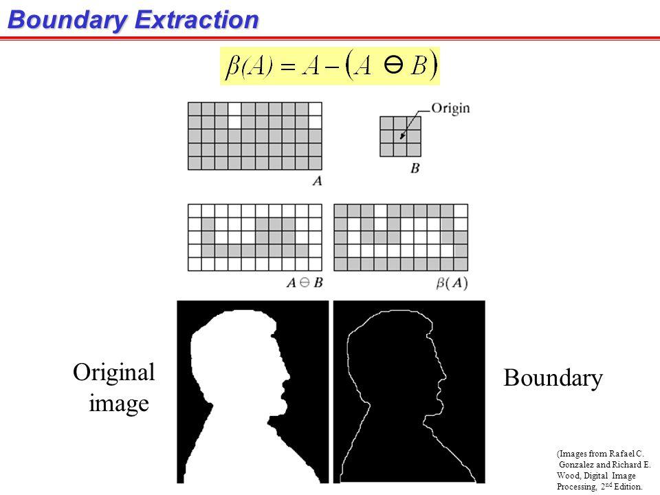 (Images from Rafael C. Gonzalez and Richard E. Wood, Digital Image Processing, 2 nd Edition. Boundary Extraction Original image Boundary