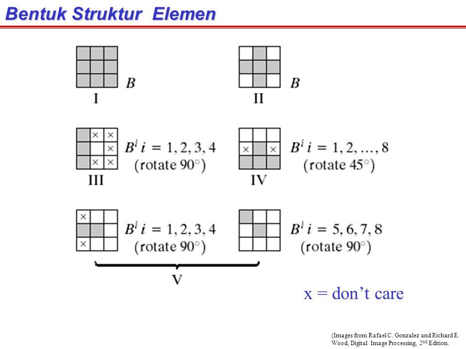 (Images from Rafael C. Gonzalez and Richard E. Wood, Digital Image Processing, 2 nd Edition. Bentuk Struktur Elemen x = don't care