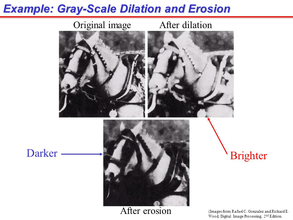 (Images from Rafael C. Gonzalez and Richard E. Wood, Digital Image Processing, 2 nd Edition. Example: Gray-Scale Dilation and Erosion Original imageAf