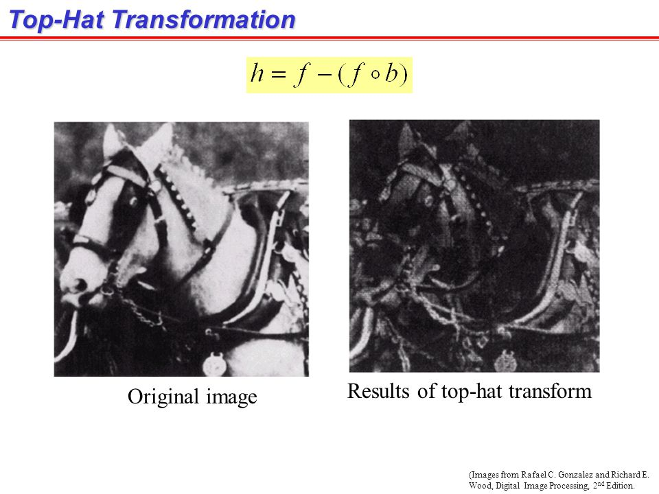 (Images from Rafael C. Gonzalez and Richard E. Wood, Digital Image Processing, 2 nd Edition. Top-Hat Transformation Original image Results of top-hat