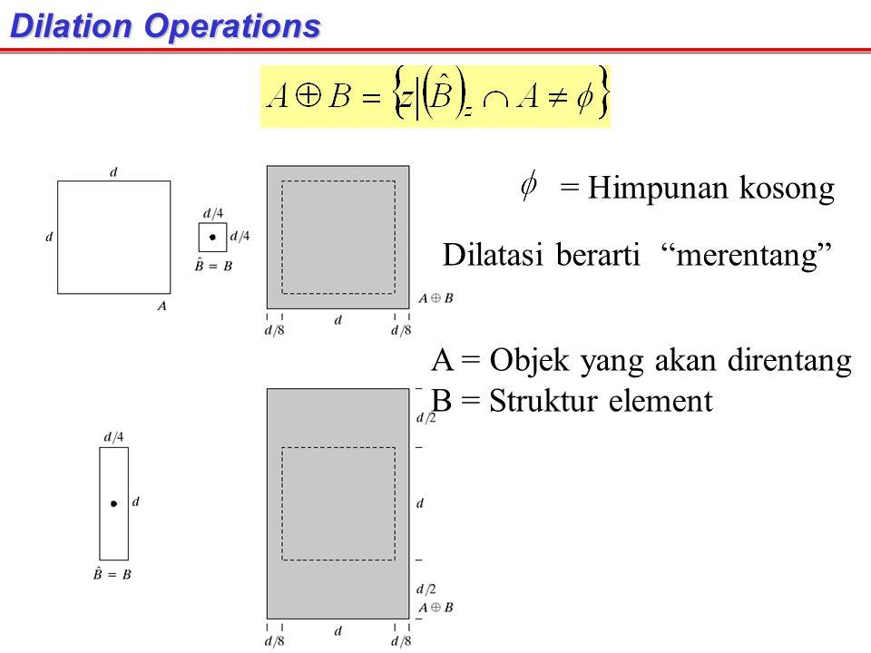 "Dilation Operations = Himpunan kosong A = Objek yang akan direntang B = Struktur element Dilatasi berarti ""merentang"""