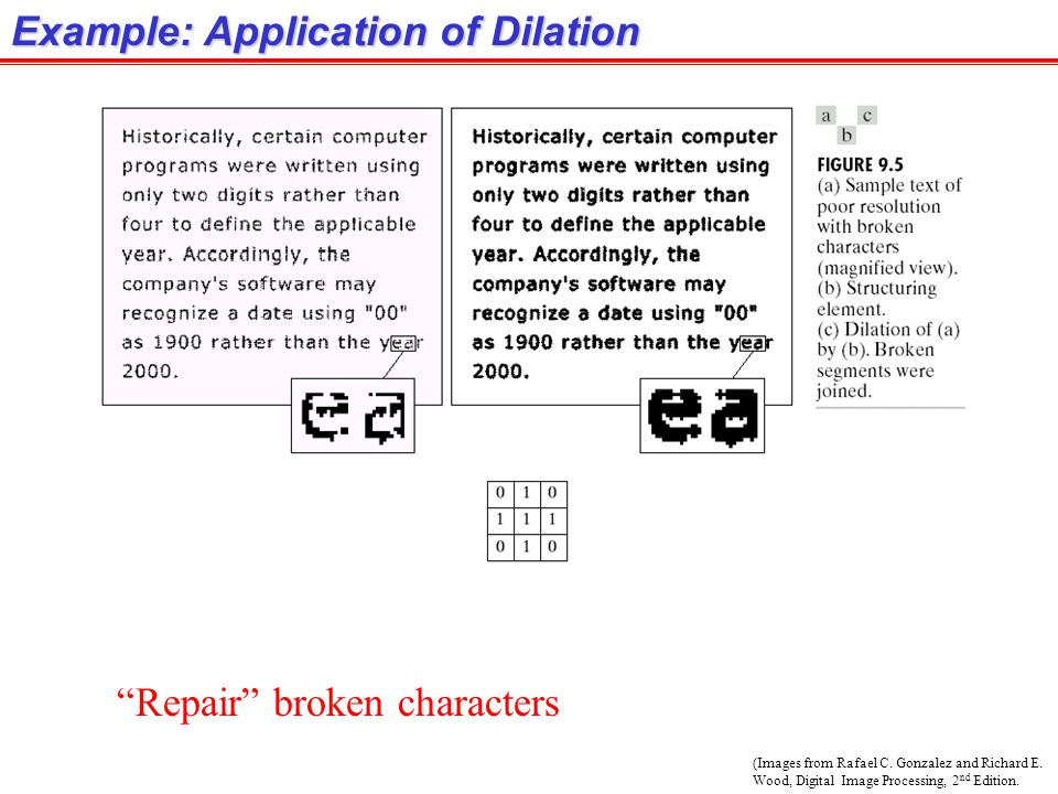 """(Images from Rafael C. Gonzalez and Richard E. Wood, Digital Image Processing, 2 nd Edition. Example: Application of Dilation """"Repair"""" broken characte"""