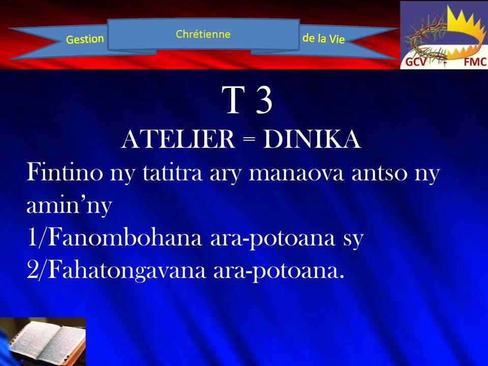 T 3 ATELIER = DINIKA Fintino ny tatitra ary manaova antso ny amin'ny 1/Fanombohana ara-potoana sy 2/Fahatongavana ara-potoana.