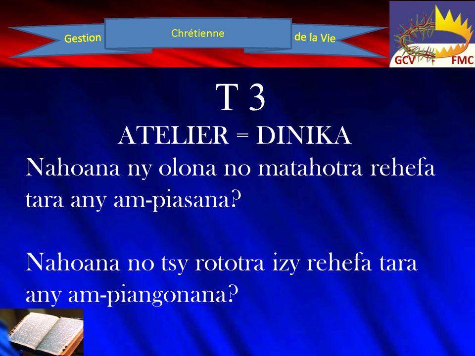 T 3 ATELIER = DINIKA Nahoana ny olona no matahotra rehefa tara any am-piasana.