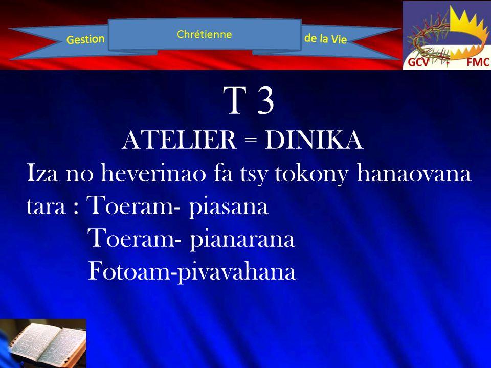 T 3 ATELIER = DINIKA Iza no heverinao fa tsy tokony hanaovana tara : Toeram- piasana Toeram- pianarana Fotoam-pivavahana