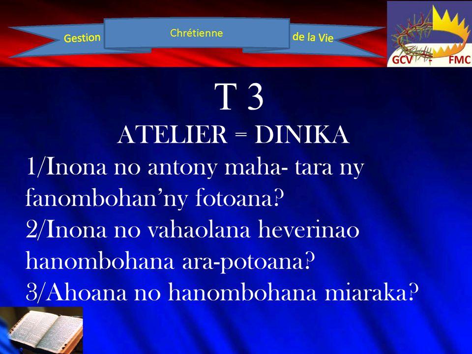 T 3 ATELIER = DINIKA 1/Inona no antony maha- tara ny fanombohan'ny fotoana? 2/Inona no vahaolana heverinao hanombohana ara-potoana? 3/Ahoana no hanomb