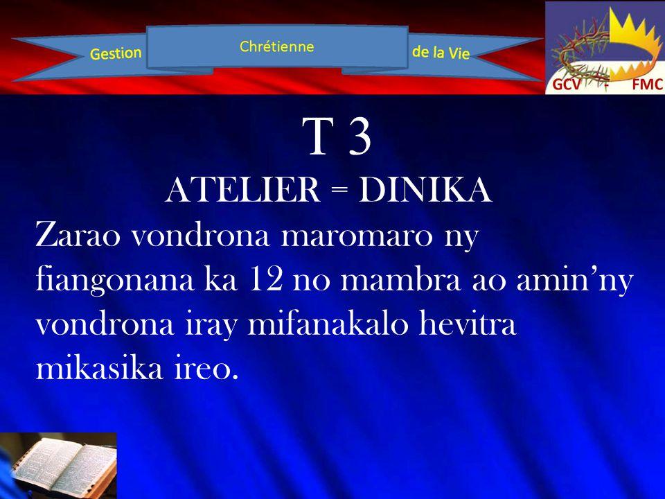 T 3 ATELIER = DINIKA Zarao vondrona maromaro ny fiangonana ka 12 no mambra ao amin'ny vondrona iray mifanakalo hevitra mikasika ireo.