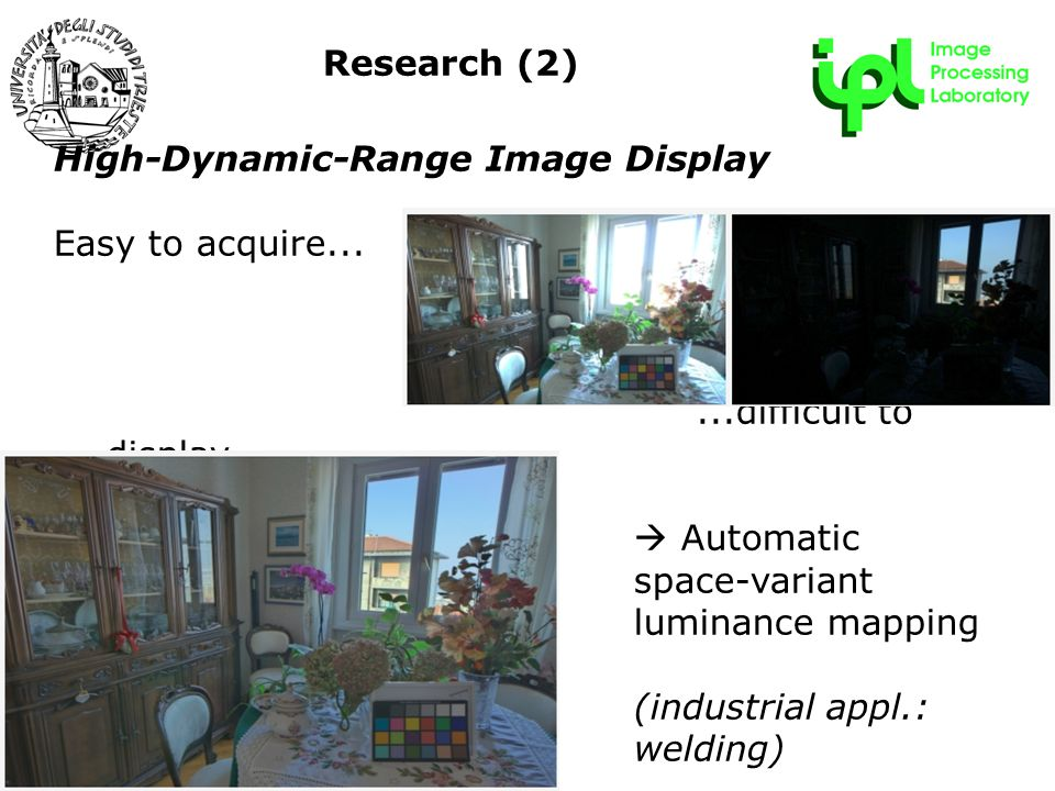 R&D Forum - 22 maggio 2009 High-Dynamic-Range Image Display Easy to acquire......difficult to display  Automatic space-variant luminance mapping (industrial appl.: welding) Research (2)
