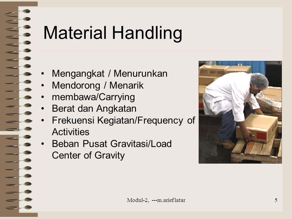 Material Handling Mengangkat / Menurunkan Mendorong / Menarik membawa/Carrying Berat dan Angkatan Frekuensi Kegiatan/Frequency of Activities Beban Pusat Gravitasi/Load Center of Gravity Modul-2, ---m.arief latar5