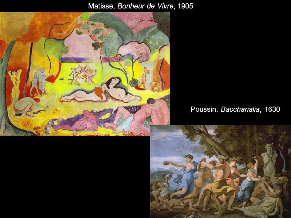 Matisse, Bonheur de Vivre, 1905 Poussin, Bacchanalia, 1630