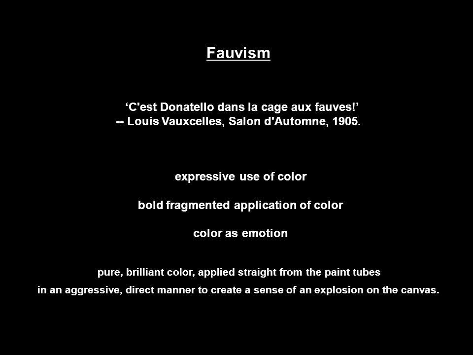 Fauvism 'C'est Donatello dans la cage aux fauves!' -- Louis Vauxcelles, Salon d'Automne, 1905. expressive use of color bold fragmented application of