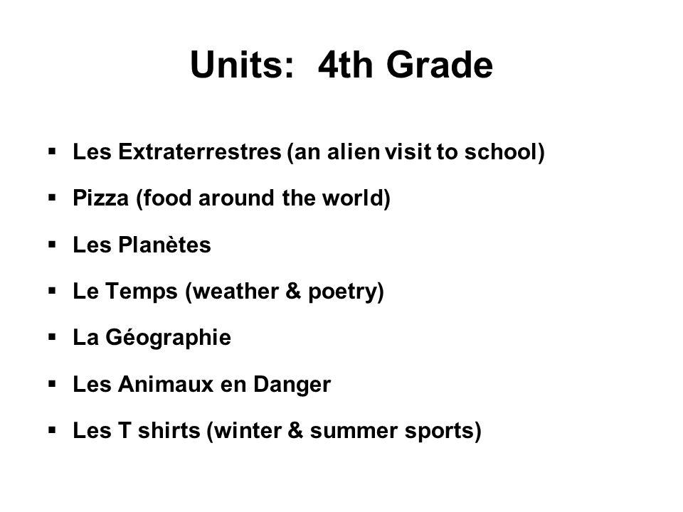Units: 4th Grade  Les Extraterrestres (an alien visit to school)  Pizza (food around the world)  Les Planètes  Le Temps (weather & poetry)  La Géographie  Les Animaux en Danger  Les T shirts (winter & summer sports)