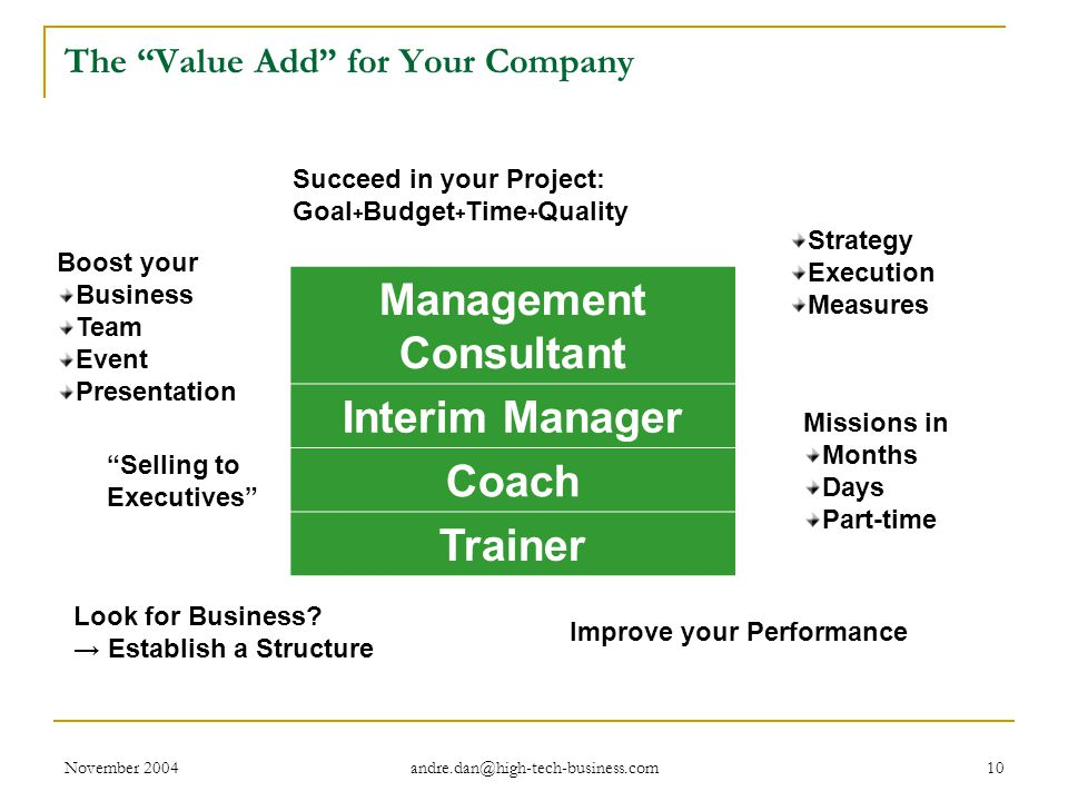 November 2004 andre.dan@high-tech-business.com 10 The Value Add for Your Company Management Consultant Interim Manager Coach Trainer Succeed in your Project: Goal + Budget + Time + Quality Strategy Execution Measures Look for Business.