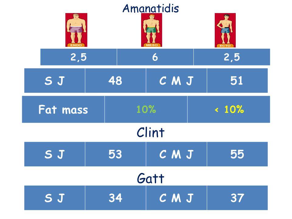 Amanatidis S J48C M J51 Clint S J53C M J55 Gatt S J34C M J37 Fat mass 10%< 10% 2,56