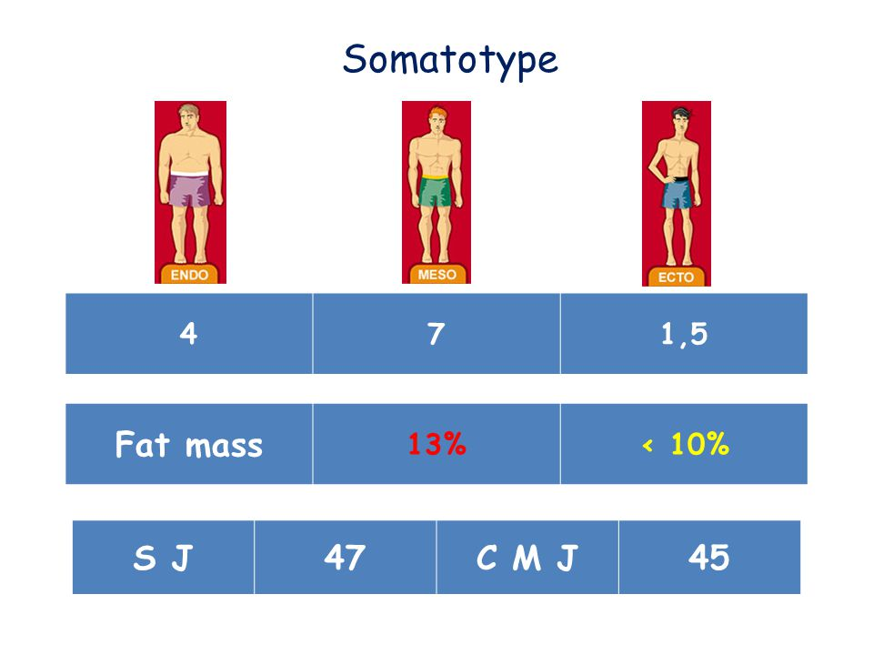471,5 Somatotype Fat mass 13%< 10% S J47C M J45