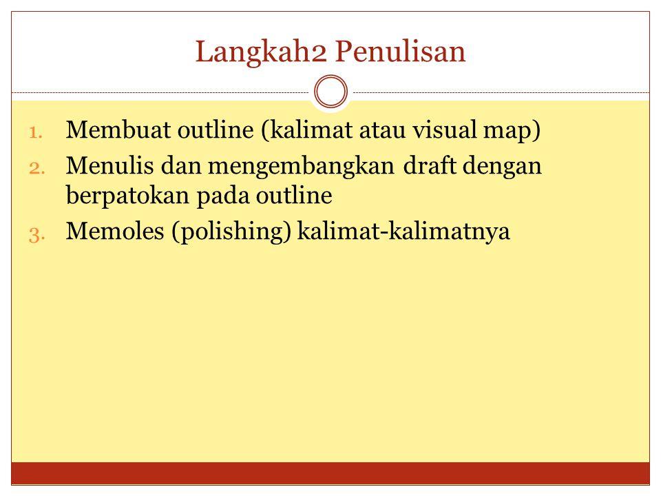 Langkah2 Penulisan 1.Membuat outline (kalimat atau visual map) 2.