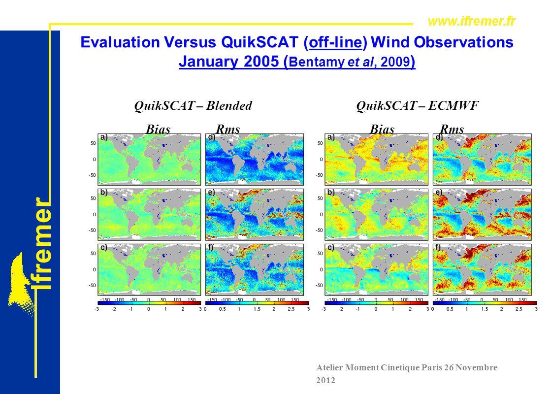 Evaluation Versus QuikSCAT (off-line) Wind Observations January 2005 ( Bentamy et al, 2009 ) QuikSCAT – Blended BiasRms QuikSCAT – ECMWF BiasRms W U V