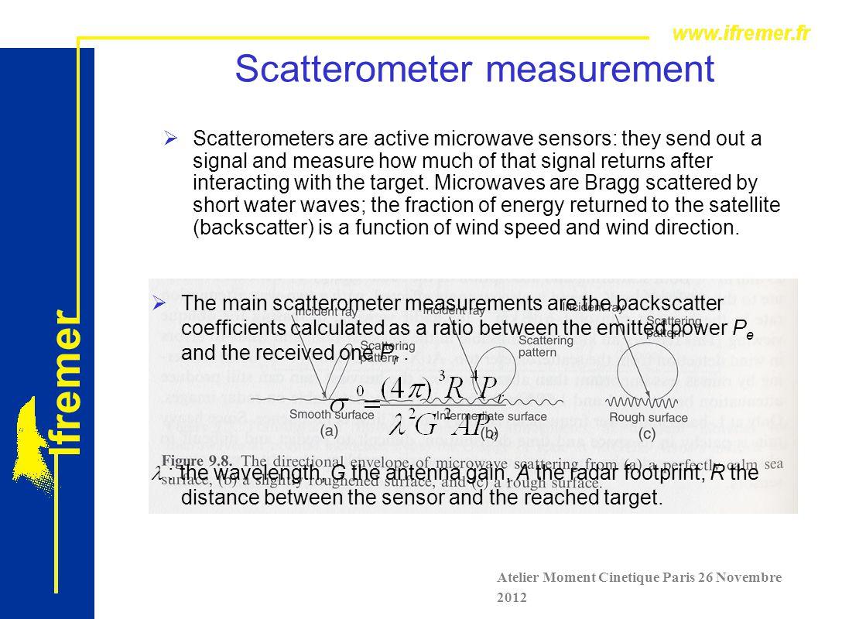 Scatterometer Calibration  Retrieving Surface Winds from Backscatter Coefficient Measurements is not Trivial Atelier Moment Cinetique Paris 26 Novembre 2012  Calibration Procedure: Determination of Geophysical Model Function (GMF):  ° = f(U, , , P,fc, ….)