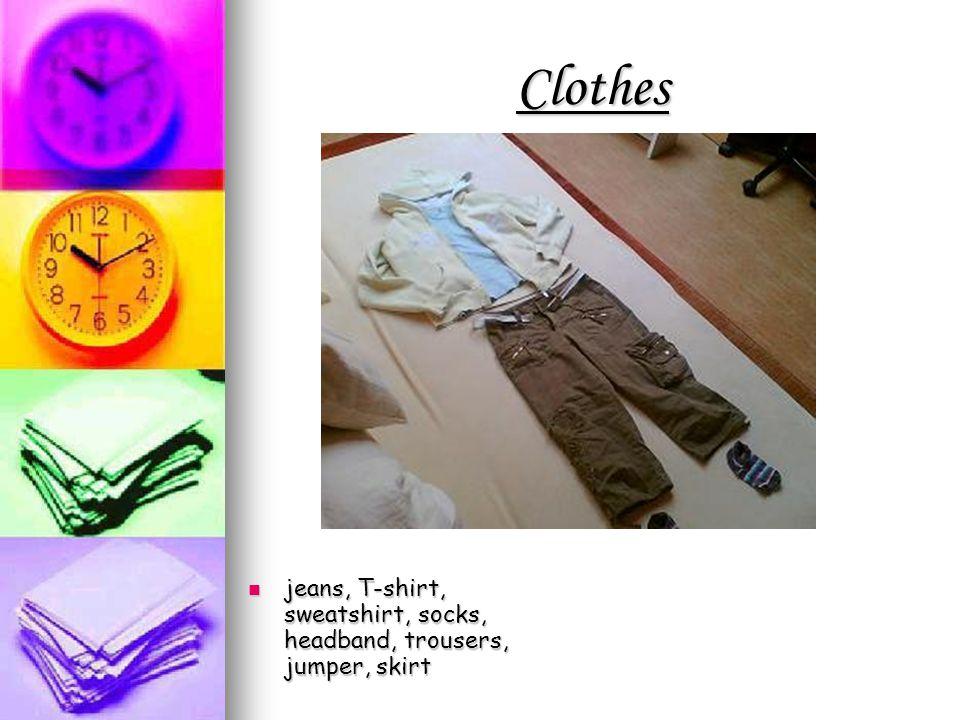 Clothes jeans, T-shirt, sweatshirt, socks, headband, trousers, jumper, skirt jeans, T-shirt, sweatshirt, socks, headband, trousers, jumper, skirt