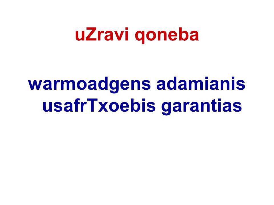 uZravi qoneba warmoadgens adamianis usafrTxoebis garantias