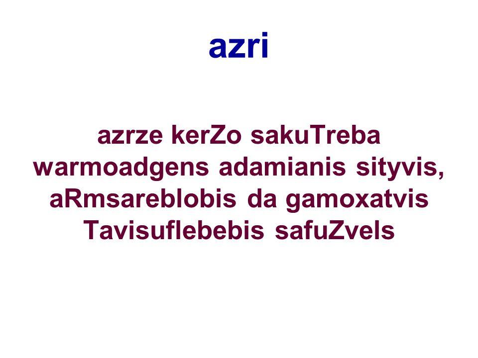 azri azrze kerZo sakuTreba warmoadgens adamianis sityvis, aRmsareblobis da gamoxatvis Tavisuflebebis safuZvels