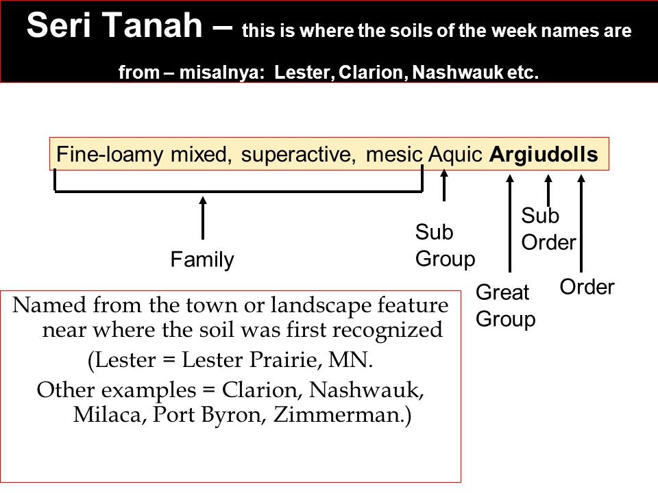 Seri Tanah – this is where the soils of the week names are from – misalnya: Lester, Clarion, Nashwauk etc. Named from the town or landscape feature ne