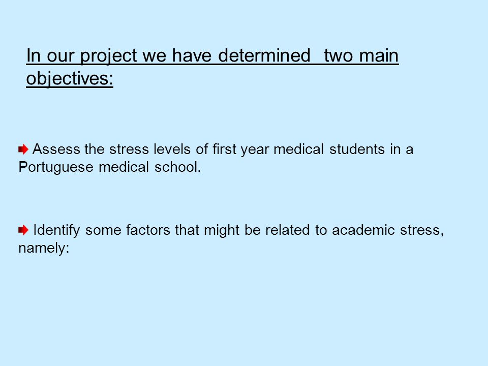 In our project we have determined two main objectives: Assess the stress levels of first year medical students in a Portuguese medical school. Identif