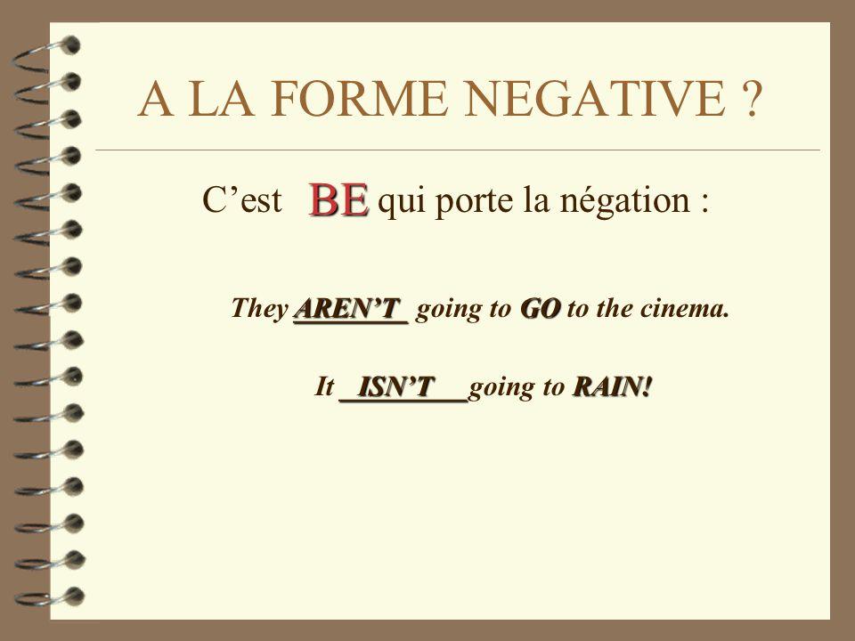C'est qui porte la négation : A LA FORME NEGATIVE ? ________GO They ________ going to GO to the cinema. It _ __ _________going to R RR RAIN! BE AREN'T