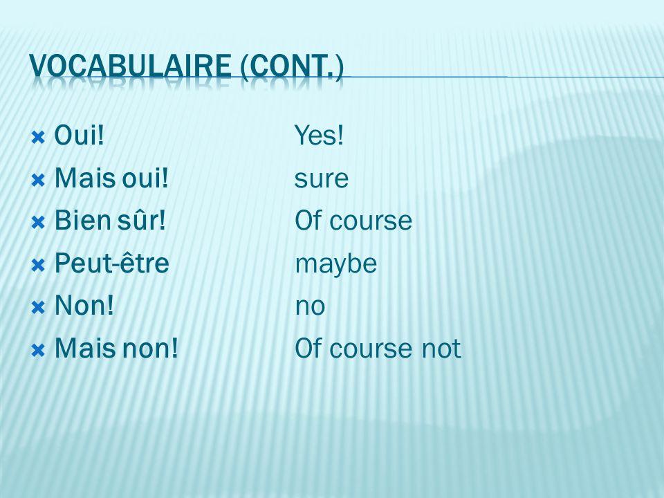  Oui! Yes!  Mais oui! sure  Bien sûr! Of course  Peut-être maybe  Non! no  Mais non! Of course not
