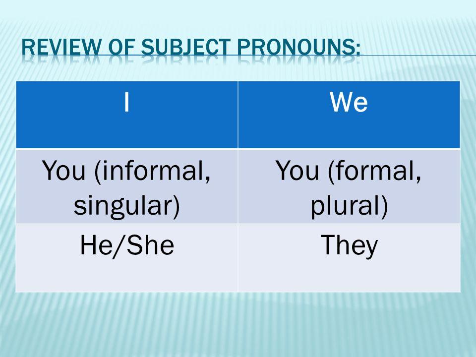 IWe You (informal, singular) You (formal, plural) He/SheThey