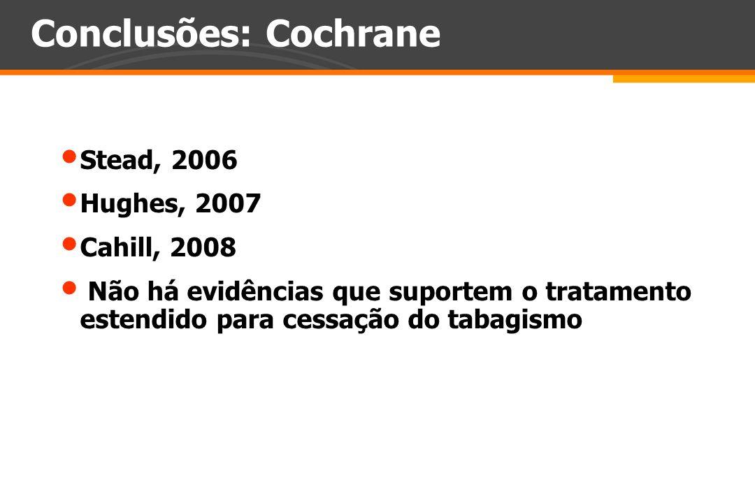 Conclusões: Cochrane Stead, 2006 Hughes, 2007 Cahill, 2008 Não há evidências que suportem o tratamento estendido para cessação do tabagismo