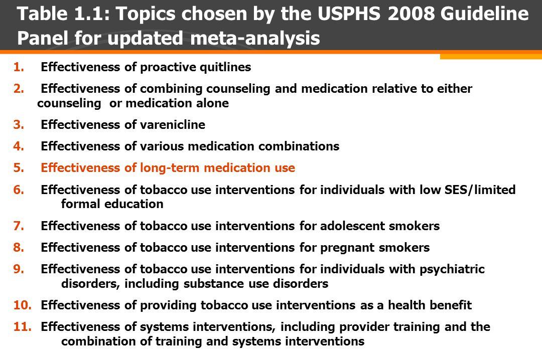 1. Effectiveness of proactive quitlines 2.