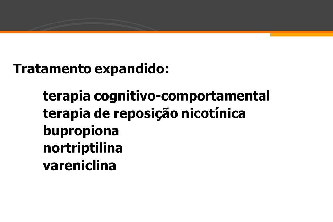 Tratamento expandido: terapia cognitivo-comportamental terapia de reposição nicotínica bupropiona nortriptilina vareniclina