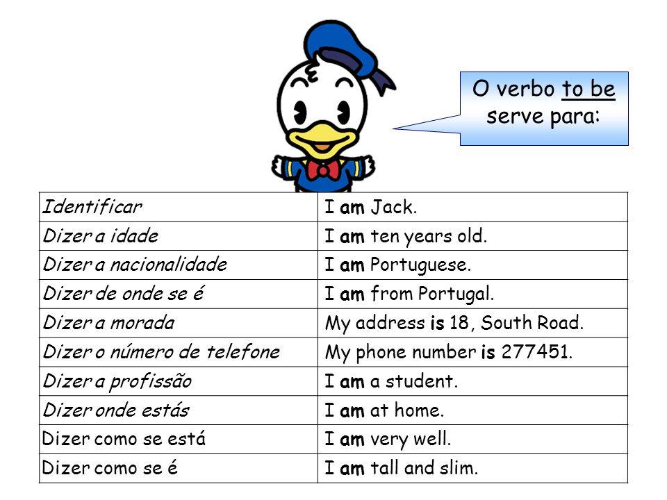 Identificar I am Jack. Dizer a idade I am ten years old.