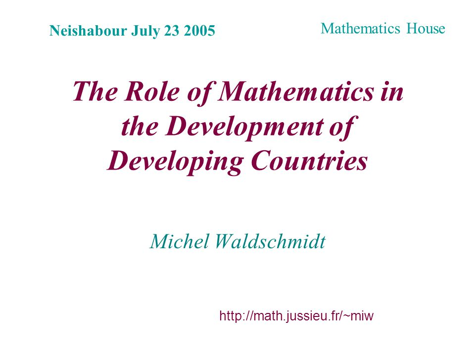 Plan A concrete example Basic Sciences and Development « Pure » Mathematics Organisms of scientific cooperation Mathematics in developing countries Conclusion