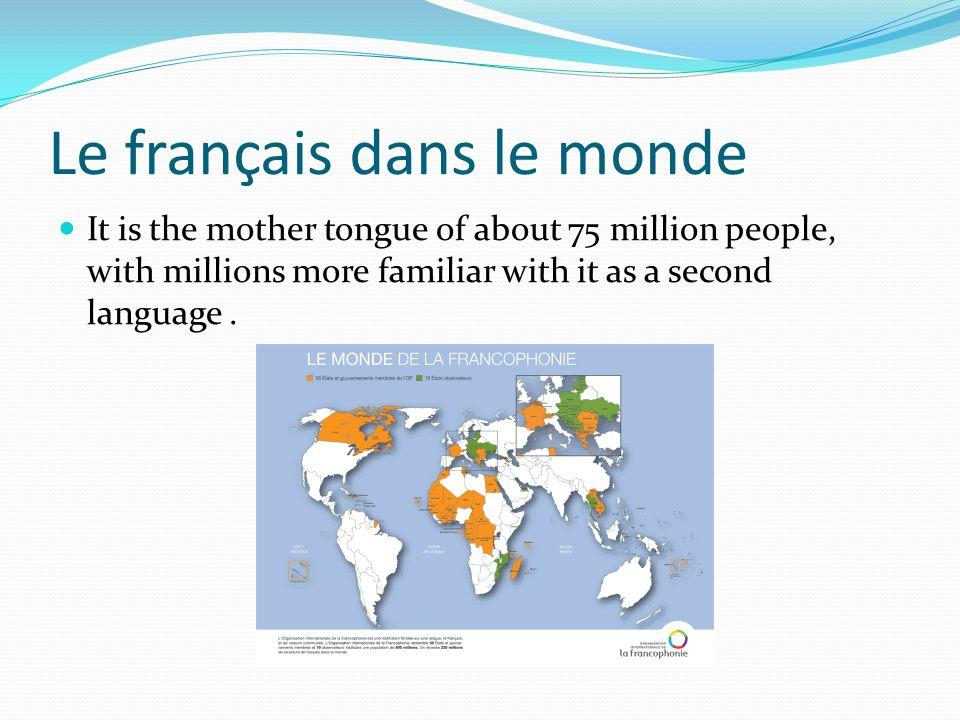 Le français dans le monde It is the mother tongue of about 75 million people, with millions more familiar with it as a second language.