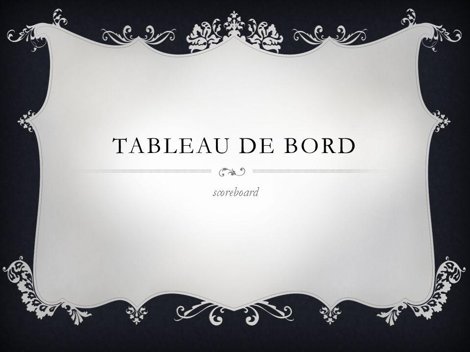 TABLEAU DE BORD scoreboard