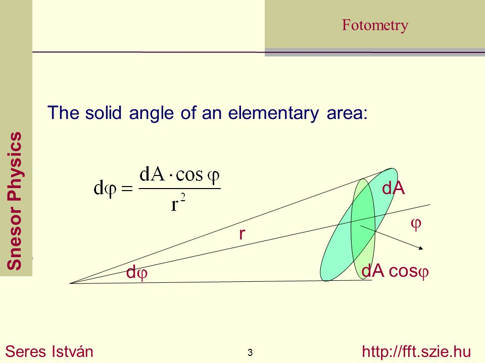 Snesor Physics Seres István 3 http://fft.szie.hu Fotometry The solid angle of an elementary area: dd  r dA dA cos 