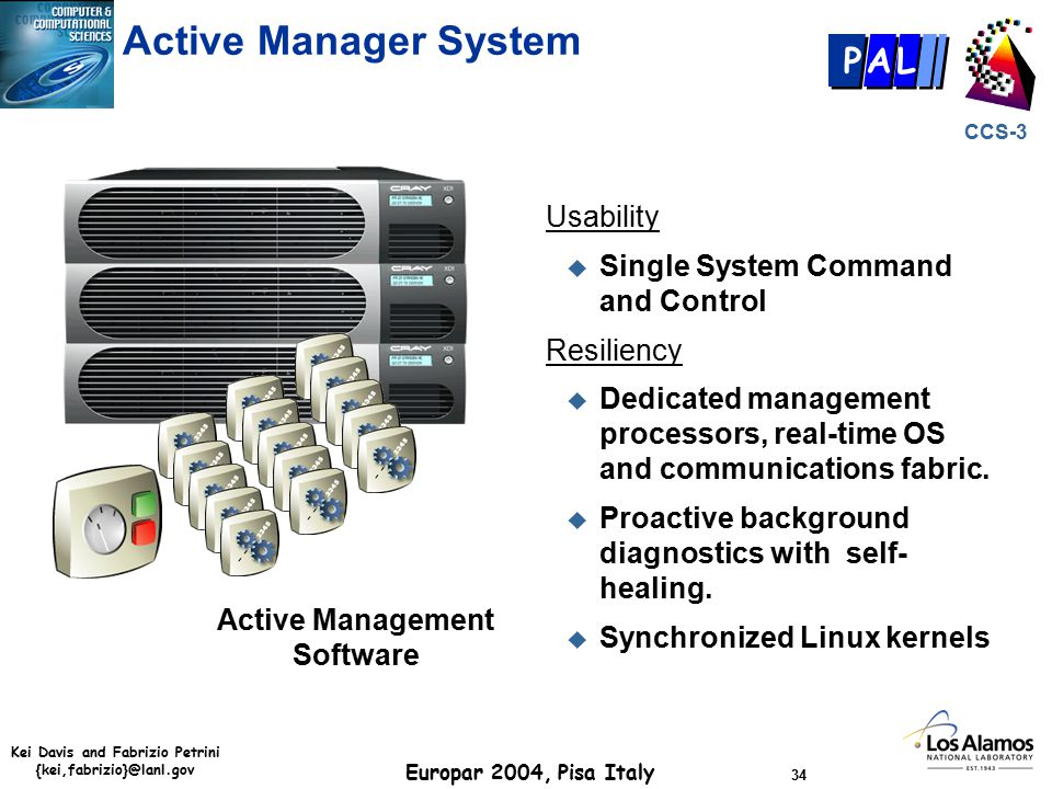 Kei Davis and Fabrizio Petrini {kei,fabrizio}@lanl.gov Europar 2004, Pisa Italy 34 CCS-3 P AL Usability u Single System Command and Control Resiliency u Dedicated management processors, real-time OS and communications fabric.