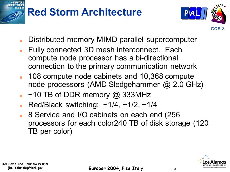 Kei Davis and Fabrizio Petrini {kei,fabrizio}@lanl.gov Europar 2004, Pisa Italy 37 CCS-3 P AL Red Storm Architecture n Distributed memory MIMD parallel supercomputer n Fully connected 3D mesh interconnect.